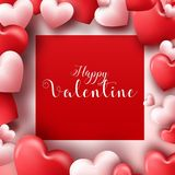 Fond de jour de valentines avec les coeurs rouges et roses Photos libres de droits