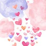 Fond de jour de valentines avec les taches en pastel d'aquarelle et les coeurs colorés et les baisers volants de rose et rouges illustration de vecteur