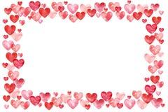 Fond de jour de valentines Cadre rouge de frontière de coeurs Vue avec l'espace pour votre texte Photographie stock libre de droits
