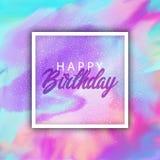 Fond de joyeux anniversaire avec la texture pour aquarelle illustration stock