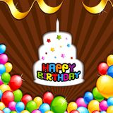 Fond de joyeux anniversaire avec le gâteau et le ballon Photos stock