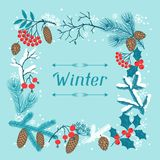 Fond de Joyeux Noël avec l'hiver stylisé illustration stock