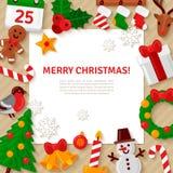 Fond de Joyeux Noël avec les icônes plates de Noël Image stock