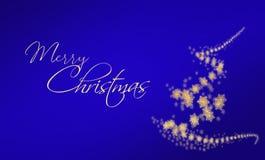 Fond de Joyeux Noël dans le bleu avec la calligraphie et stylisé Image stock