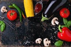 Fond de légumes de BBQ image libre de droits