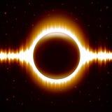 Fond de l'espace avec l'éclipse orange-foncé Photos stock