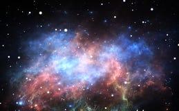 Fond de l'espace avec la nébuleuse et les étoiles Images stock