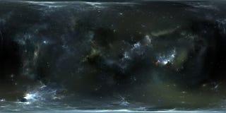 Fond de l'espace avec la nébuleuse et les étoiles Panorama, carte de l'environnement 360 HDRI Projection d'Equirectangular, panor Image stock