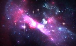 Fond de l'espace avec la nébuleuse et les étoiles pourpres Images libres de droits