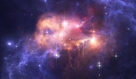 Fond de l'espace de ciel nocturne avec la nébuleuse et les étoiles Photos stock