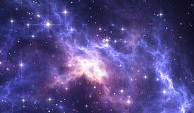 Fond de l'espace de ciel nocturne avec la nébuleuse et les étoiles Photographie stock