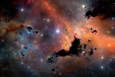 Fond de l'espace de ciel nocturne avec la nébuleuse et les étoiles Photo stock