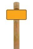 Fond de l'espace de copie de signage de panneau de signe en métal jaune, roadsign noir de cadre, vieux poteau en bois superficiel Images libres de droits