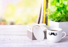 Fond de l'espace de message de café de boîte-cadeau Photo libre de droits