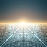 Fond de l'espace infini de vecteur Matrix de rougeoyer se tient le premier rôle avec l'illusion de la profondeur et de la perspec Photos libres de droits