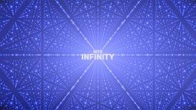 Fond de l'espace infini de vecteur Matrix de rougeoyer se tient le premier rôle avec l'illusion de la profondeur, perspective Images stock