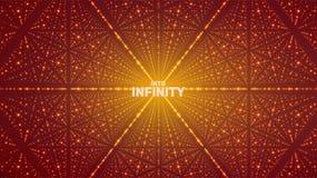Fond de l'espace infini de vecteur Matrix de rougeoyer se tient le premier rôle avec l'illusion de la profondeur, perspective illustration stock