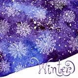 Fond de l'hiver avec des flocons de neige Peinture Photo stock