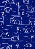 Fond de l'hiver avec les cerfs communs stylisés Image libre de droits