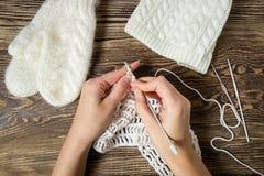 Fond de l'hiver Tricotage, crochet Mitaines et chapeau blancs Photographie stock libre de droits