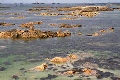 Fond de la mer outre du Jersey, R-U, côte photos libres de droits