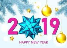 Fond de la nouvelle année 2019 avec l'arc bleu de cadeau et les boules d'or illustration de vecteur