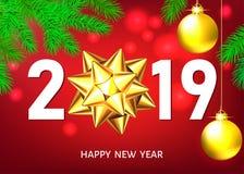 Fond de la nouvelle année 2019 avec l'arc et les boules d'or de cadeau illustration libre de droits