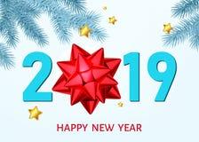 Fond de la nouvelle année 2019 avec l'arc rouge de cadeau, branche de sapin en gelée illustration libre de droits