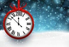 Fond de la nouvelle année 2018 avec l'horloge Images libres de droits