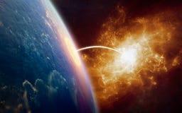 Fond de la science fiction - téléportation à un autre monde illustration stock