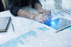 Fond de la sphère 3D de réseau de vol Technologie d'affaires et concept d'Internet Photos stock