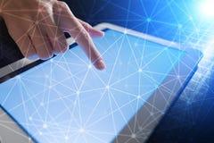 Fond de la sphère 3D de réseau de vol Technologie d'affaires et concept d'Internet Interface moderne d'écran virtuel Photos libres de droits