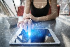 Fond de la sphère 3D de réseau de vol Technologie d'affaires et concept d'Internet Interface moderne d'écran virtuel Photographie stock