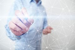 Fond de la sphère 3D de réseau de vol Technologie d'affaires et concept d'Internet Interface moderne d'écran virtuel Photos stock