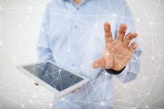 Fond de la sphère 3D de réseau de vol Technologie d'affaires et concept d'Internet Interface moderne d'écran virtuel Photo stock