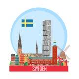 Fond de la Suède avec les attractions nationales illustration stock