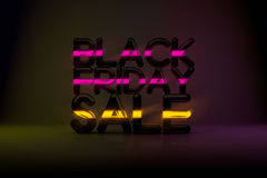 Fond de la technologie 3D de vente de Black Friday avec la lueur au néon et le DA Photographie stock libre de droits