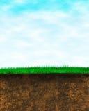 Fond de la terre d'herbe de ciel Photographie stock libre de droits