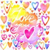 Fond de lettrage d'amour Carte de jour de Valentines Photos libres de droits