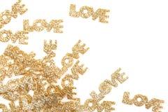 Fond de lettre d'amour d'or. Photographie stock