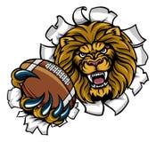 Fond de Lion American Football Ball Breaking Illustration Libre de Droits