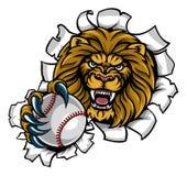 Fond de Lion Holding Baseball Ball Breaking illustration de vecteur
