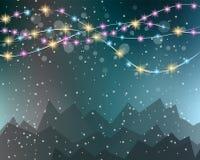 Fond de lumières de Noël pour vos papiers peints saisonniers, Photographie stock