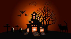 Fond de lune et de chat de Halloween, illustration illustration stock