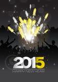Fond de luxe de nouvelle année avec des feux d'artifice Image libre de droits