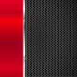 Fond de métal rouge poli et de maille noire avec la bande