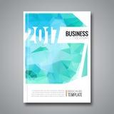 Fond de magazine de couverture de design d'entreprise, calibre triangulaire de conception du rapport annuel 2017 d'Aqua Marine, i Photographie stock libre de droits