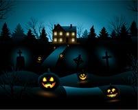 Fond de maison hanté par invitation bleue de Halloween illustration de vecteur