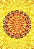Fond de Mandala Artistic Ornement géométrique Jaune sur le pourpre illustration de vecteur