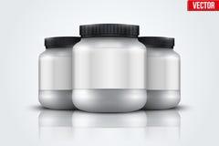 Fond de maquette de récipient de nutrition de sport Protéine de lactalbumine et gagnant Images stock